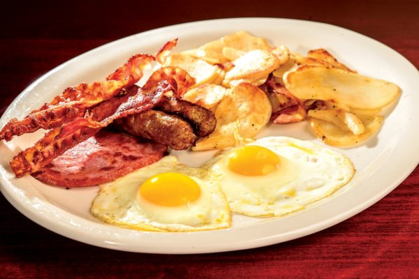 Sausage eggs and chips or hash brown